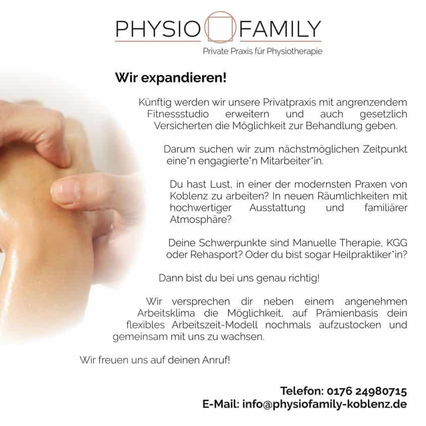 Stellenausschreibung Physiotherapie Physiofamily